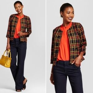 A New Day Cropped Plaid Tweed Jacket. Size large